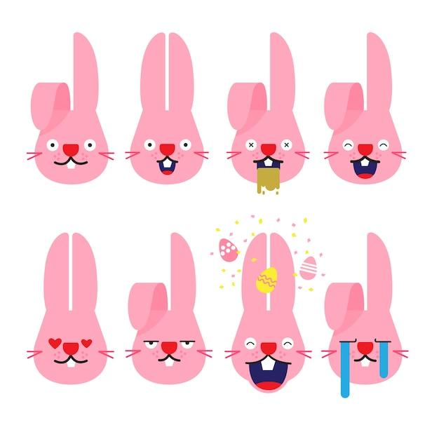 Emoji de lapin Vecteur Premium