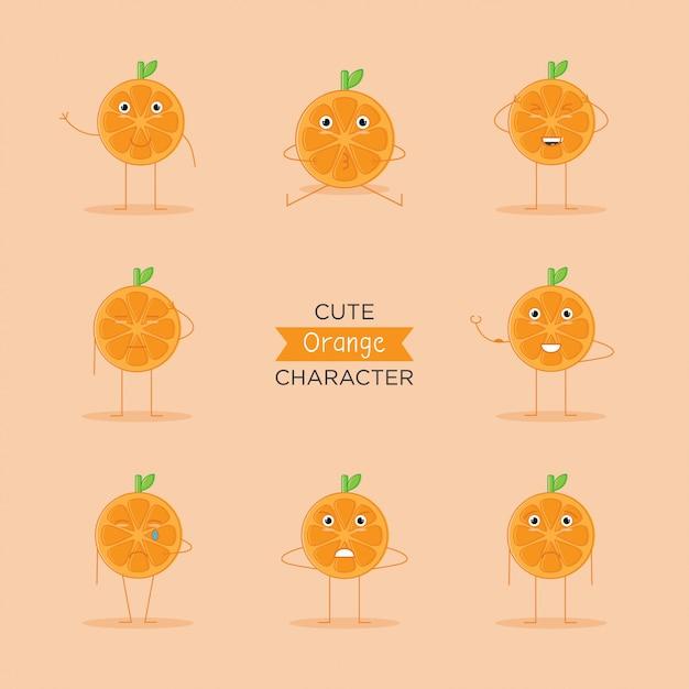 Emoji Mignon, Logo Du Personnage De Fruit Orange Et Icône Avec Style Plat Vecteur Premium
