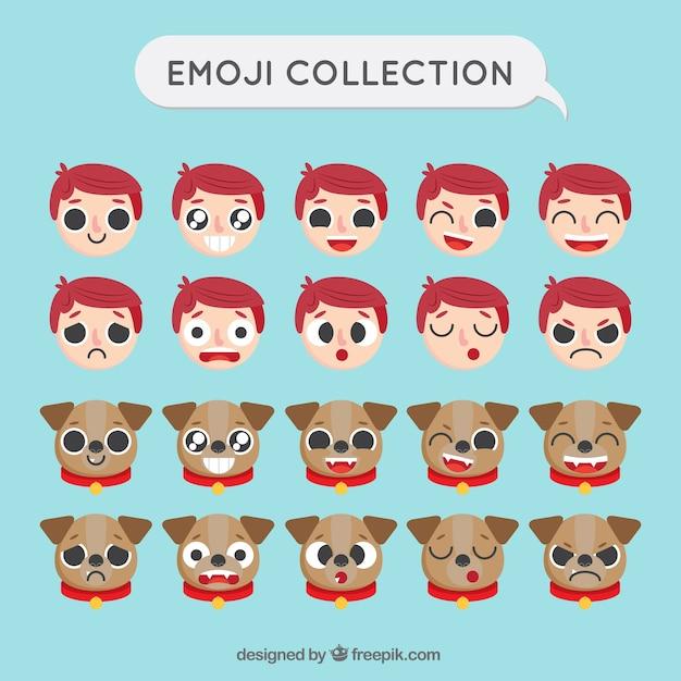 Emoji serti de garçon et le chien dans la conception plate Vecteur gratuit