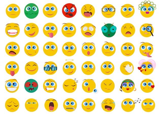 Emoji visage émotion icônes définies Vecteur Premium