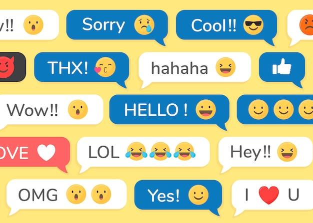 Emojis Dans Les Messages Vecteur gratuit