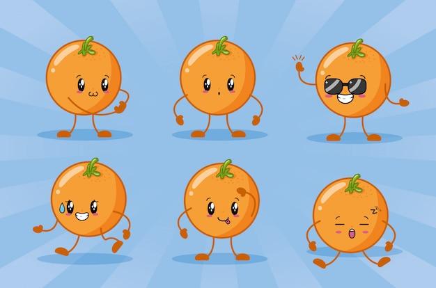 Emojis heureux aux oranges kawaii Vecteur gratuit