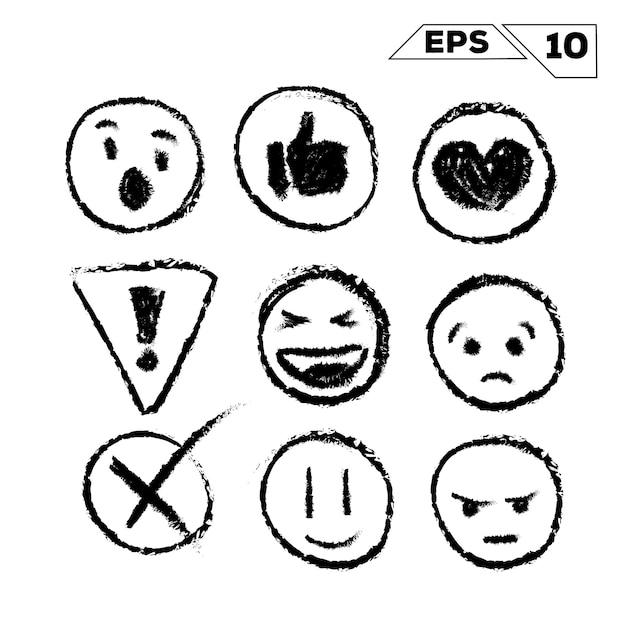 Emojis Et Icônes Dessinés à La Main Isolé Sur Blanc Vecteur Premium