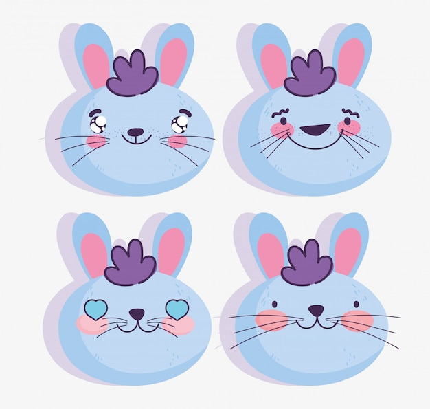 Emojis Kawaii Cartoon Faces émoticônes De Lapin Vecteur Premium
