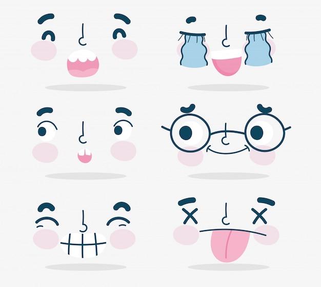 Emojis Kawaii Cartoon Faces Ensemble D'expressions Humaines Vecteur Premium