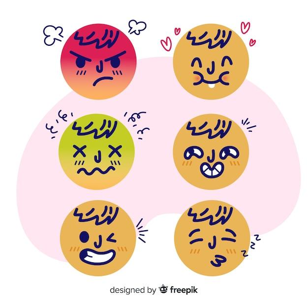 Emoticon réaction collectio Vecteur gratuit