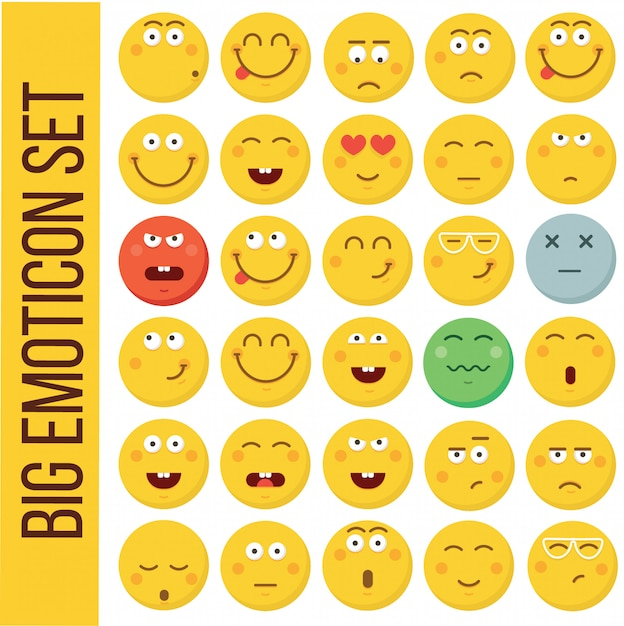 Emoticon smiley face. collection d'émotions différentes Vecteur Premium