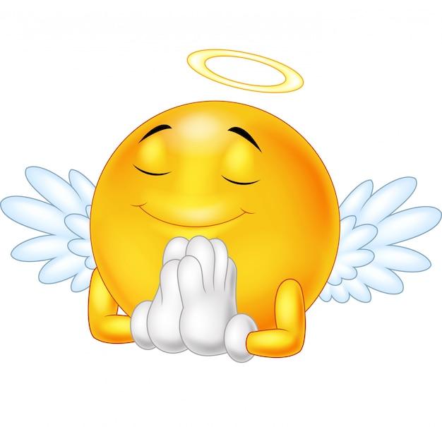 Émoticône angel isolé sur fond blanc Vecteur Premium