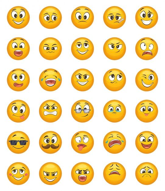 Émoticône sertie de différentes émotions drôles. jeu de caractères vectoriels Vecteur Premium