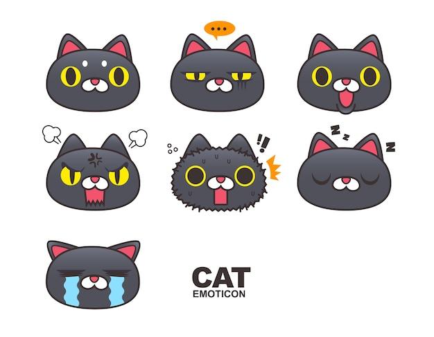 Emoticone De Visage De Chat Noir Emoji Expressions Isolees Sur Fond Blanc Vecteur Premium
