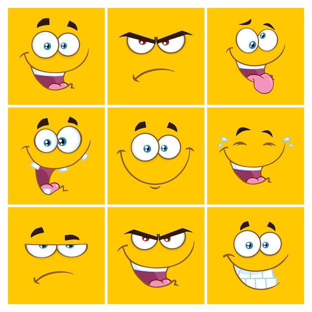 Émoticônes carrées de dessin animé jaune avec jeu d'expression Vecteur Premium