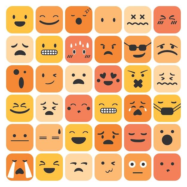 Émoticônes Emoji Définir La Collection De Sentiments D'expression Du Visage Vecteur gratuit