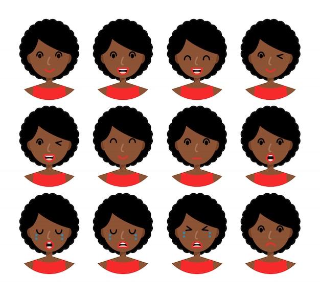 Émotions de femme. belle fille afro-américaine aux cheveux bruns. Vecteur Premium