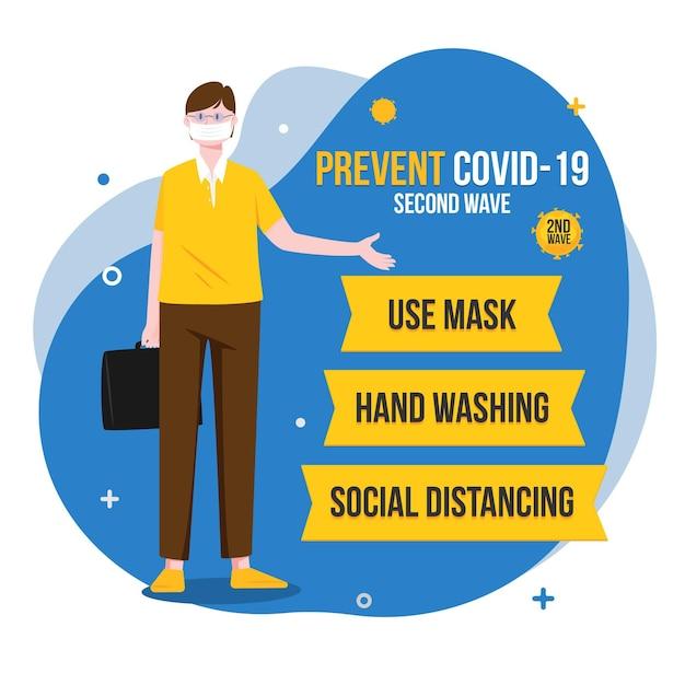Empêcher L'illustration De La Deuxième Vague De Coronavirus Vecteur gratuit