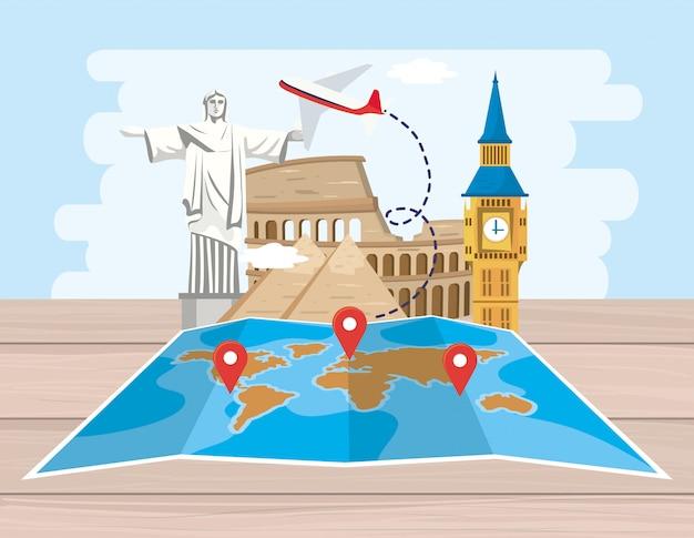 Emplacement de la carte globale avec destination avion et aventure Vecteur Premium