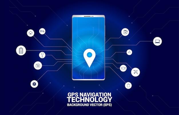 Emplacement du marqueur de broche gps dans un téléphone mobile avec un graphique de ligne de circuit. concept de lieu et d'installation, technologie gps Vecteur Premium