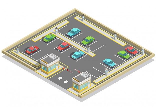 Emplacement isométrique de la zone de stationnement Vecteur gratuit