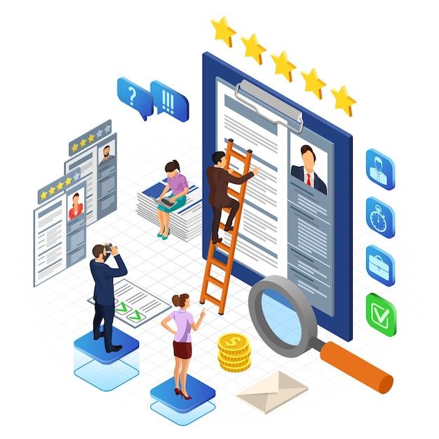 Emploi En Ligne, Recrutement, Vérifier Le Cv Et Le Concept De Recrutement Vecteur Premium