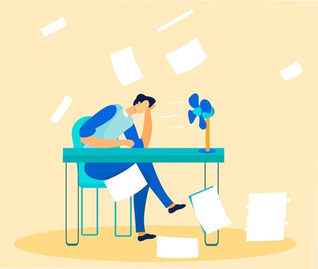 Employé De Bureau Dépassé Par La Paperasserie Et Les Tâches Vecteur Premium
