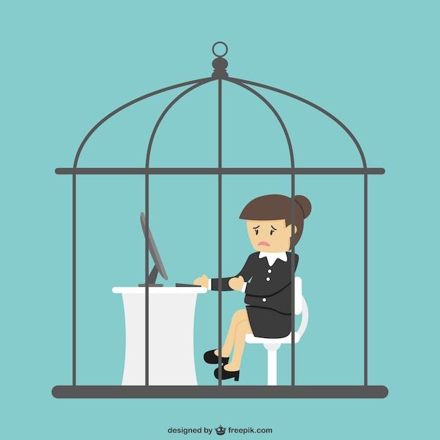 Employé De Bureau Enfermé Dans Une Cage à Oiseaux | Vecteur Premium