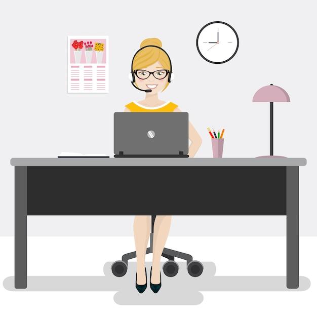 Employé de bureau féminin avec un ordinateur portable et des écouteurs Vecteur Premium