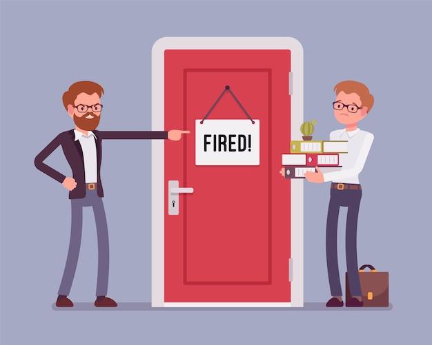 Employé De Bureau Licencié Et Patron Vecteur Premium