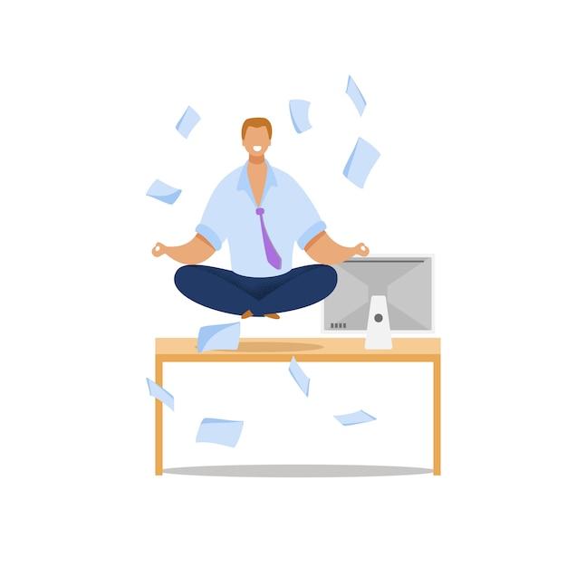Employé de bureau méditant illustration plate Vecteur Premium