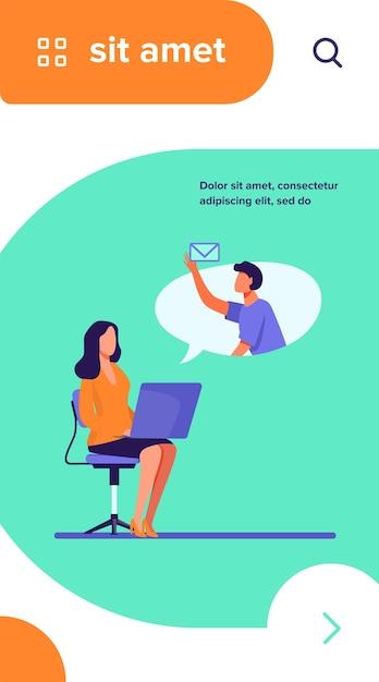 Employé De Bureau Avec Ordinateur Portable Envoyant Ou Recevant Un Message. Collègues, Ordinateur, Illustration Vectorielle Plane Email Vecteur gratuit