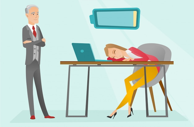 Employé caucasien fatigué, dormant sur le lieu de travail. Vecteur Premium
