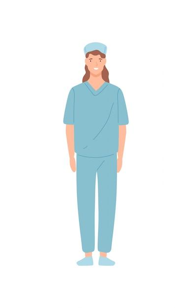Employé De Clinique Infirmière Souriante Debout Isolé Sur Fond Blanc. Médecin Médecin Heureux Dessin Animé Femme Posant Une Illustration Plate. Personnel Médical En Uniforme Vecteur Premium