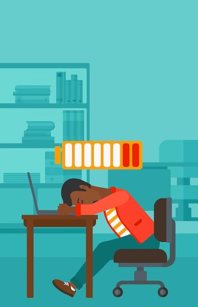 Employé dormant sur le lieu de travail Vecteur Premium