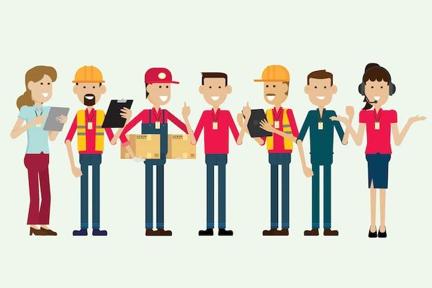 Employé d'entrepôt de groupe et personnages d'employé. illustration vectorielle Vecteur Premium