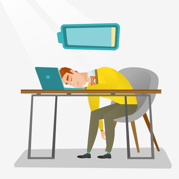 Employé fatigué dormir sur son lieu de travail. Vecteur Premium