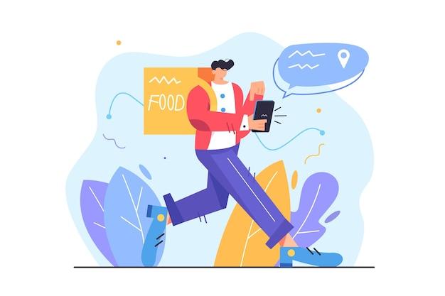 Employé De Messagerie Livrant De La Nourriture Dans Un Sac Au Client, Guy Marchant Dans Un Téléphone Mobile Vecteur Premium