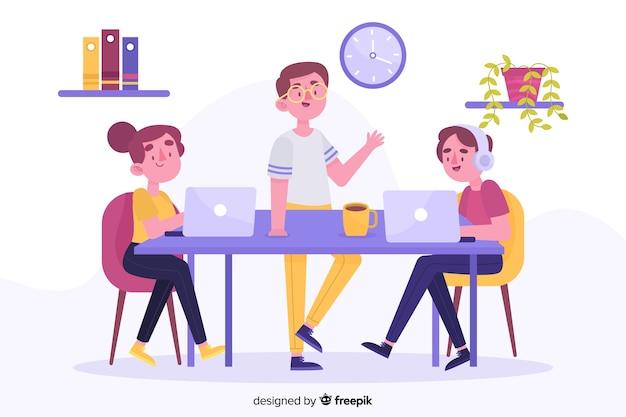 Employés de bureau assis à un bureau Vecteur gratuit
