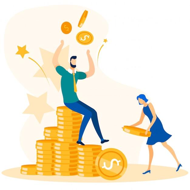 Employés de bureau de gens d'affaires et croissance de l'argent Vecteur Premium