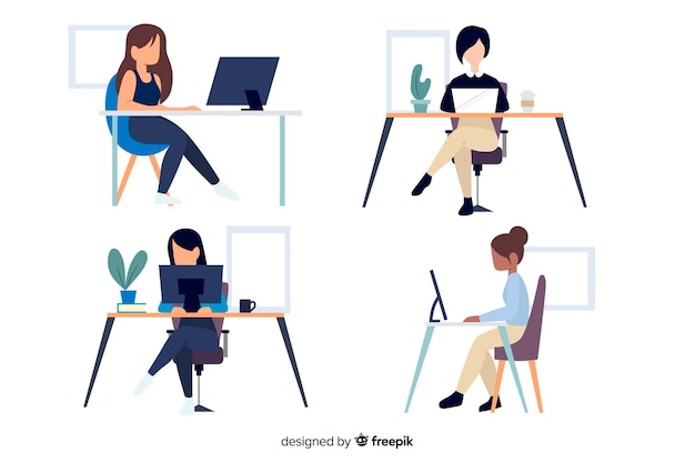 Employés de bureau de personnages de design plat assis Vecteur gratuit