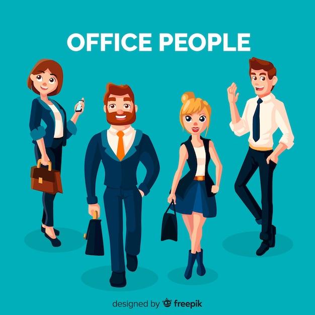 Employés de bureau professionnels au design plat Vecteur gratuit