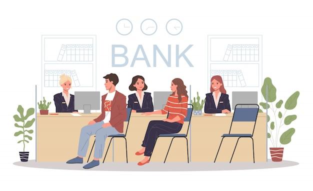 Employés Du Bureau De Banque Vecteur Premium