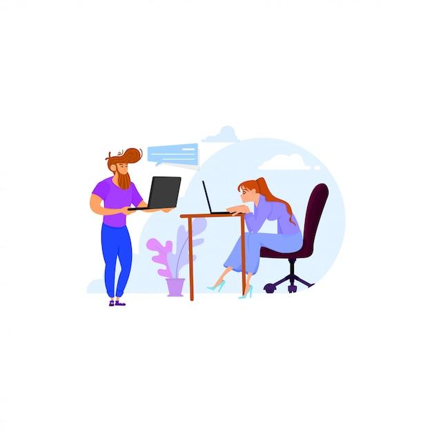 Les employés du bureau, le client et le programmeur, discutent du projet. Vecteur Premium