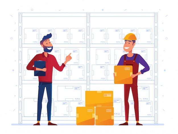 Les Employés D'entrepôt Stockent Des Boîtes Sur Le Rack Vecteur Premium