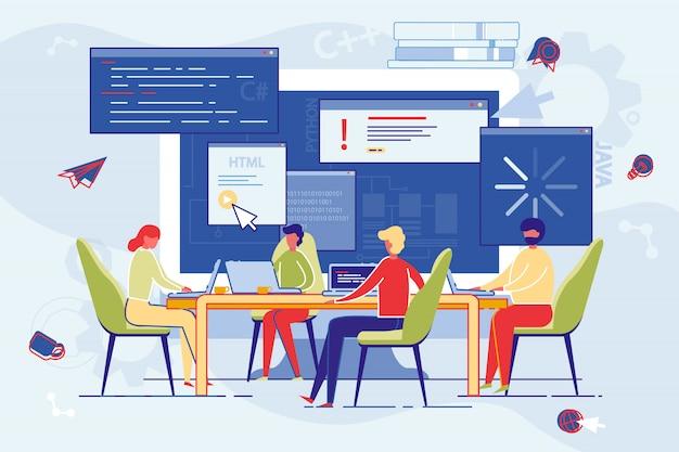 Les employés de l'entreprise suivent des cours en ligne. Vecteur Premium