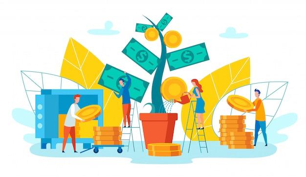 Employés de l'équipe recueille dessin animé vecteur de revenu. Vecteur Premium
