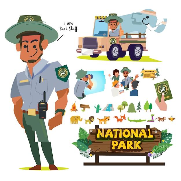 Employés ou personnel du service des parcs nationaux, jeu de caractères d'officier forestier. Vecteur Premium