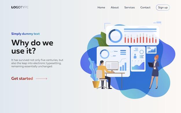 Employeurs analysant l'infographie page de destination Vecteur gratuit