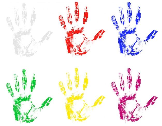 Empreinte de main de différentes couleurs. Vecteur Premium