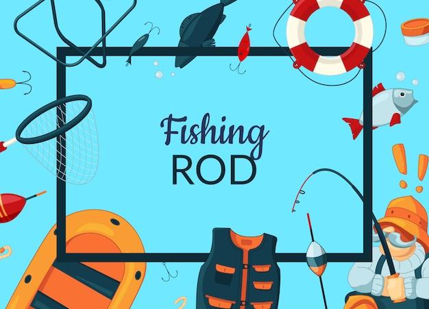 Encadrer avec du matériel de pêche en dessin animé Vecteur Premium