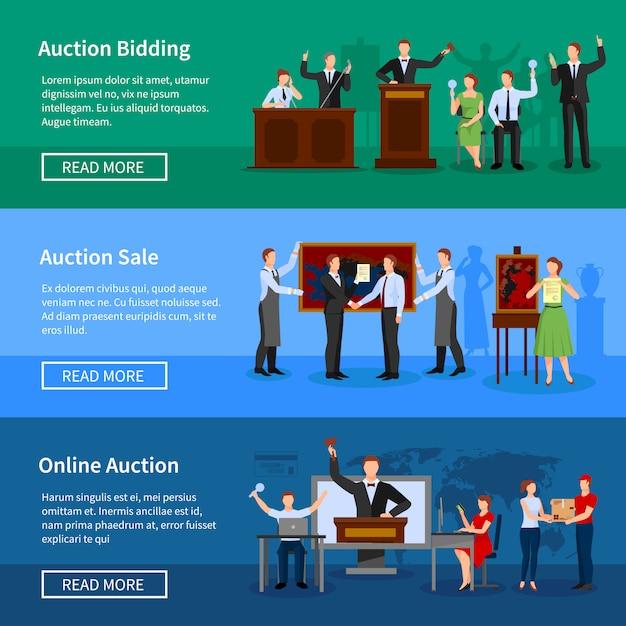 Enchères d'enchères en ligne et informations de vente à venir Vecteur gratuit