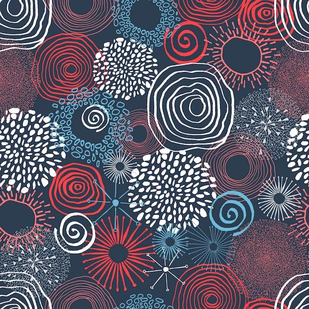 Encre de couleur des cercles en jacquard sans soudure. Vecteur Premium