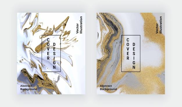 Encre De Paillettes Noires Et Dorées, Peinture De Texture De Marbre Liquide. Vecteur Premium